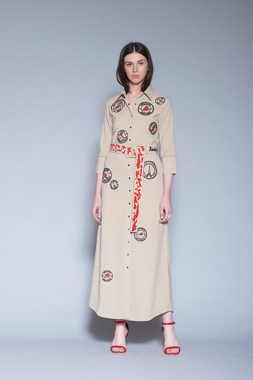 STAMP LONG SHIRT DRESS WITH BUCKLE BELT