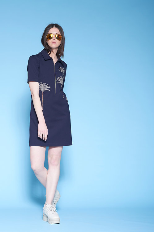 PALM TREE POLO T-SHIRT DRESS