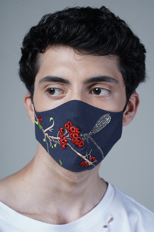 BERRIES AND DRAGONFLY MASK - SMK026/M