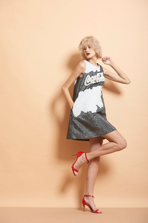 Coca Cola And Clouds Cut Sleeves Mini Dress