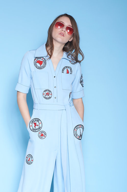 STAMP JUMPSUIT WITH BELT