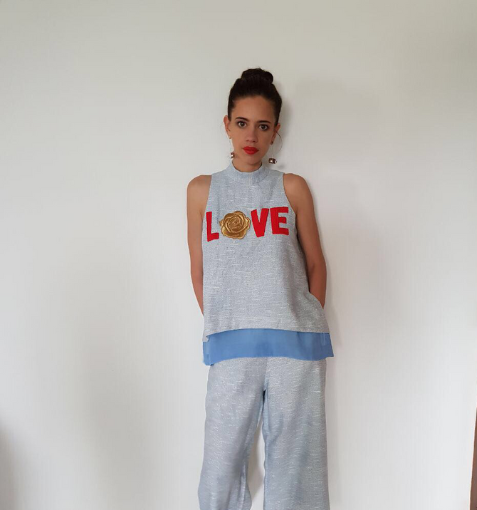 Very Talented Actor Kalki Koechlin Wearing Our Rose Love Top And Pants