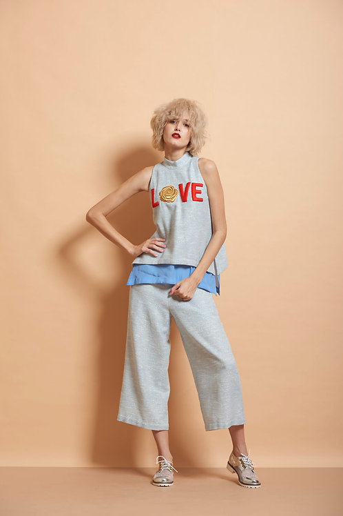 Rose Love Cut sleeves Top With Pants