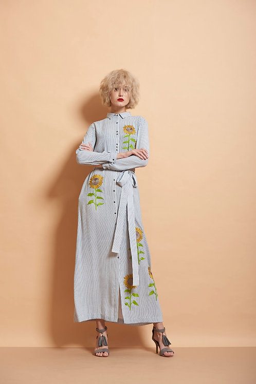 Sun Flower Long Shirt Dress