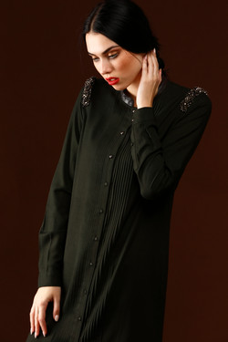 Shoulder Embellished Shirtdress
