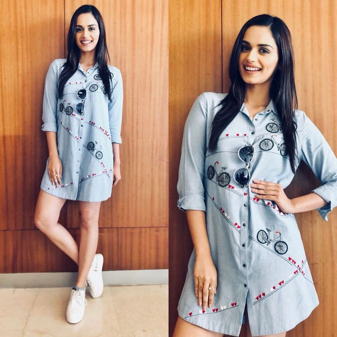 "Miss World 2017 Manushi Chhillar wearing our ""Love to Ride "" chambray shirt dress from #sM"