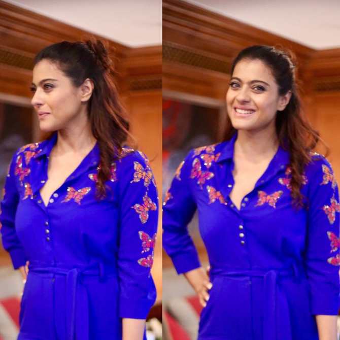 Actress Kajol In Shahin Mannan Colorful Butterfly Jumpsuit #shahinmannan #kajol
