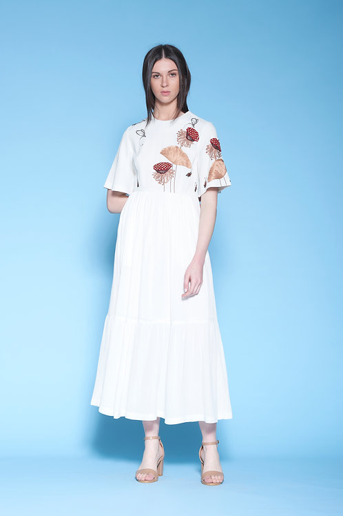 LOTUS POD, DRAGONFLIES AND FISH GATHERED TIRED MIDI DRESS