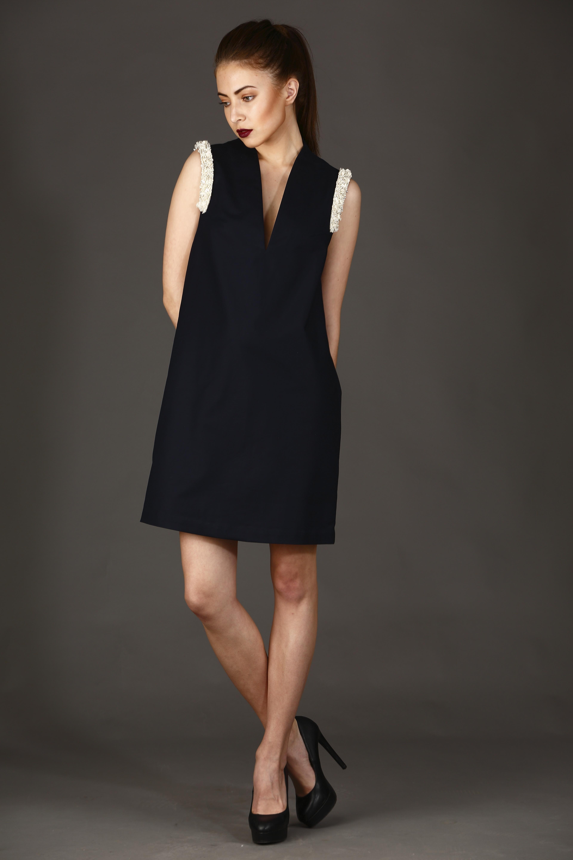 Shoulder Embellished Cutsleeve Dress