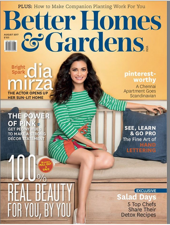 Actor Diya Mirza Graces The Cover Of Better Homes And Garden In Our Embroidered Hand Stripes Tee Dre
