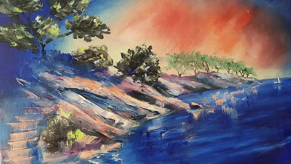 Clery peinture à l'huile Port D'alon
