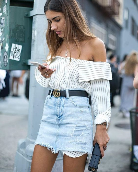 Offshoulder Stripped Shirt