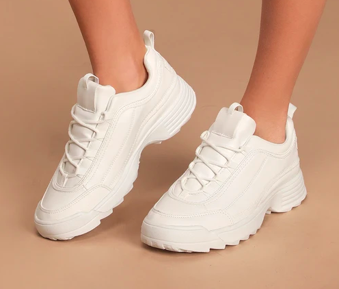Anatola White Lace-Up Sneakers