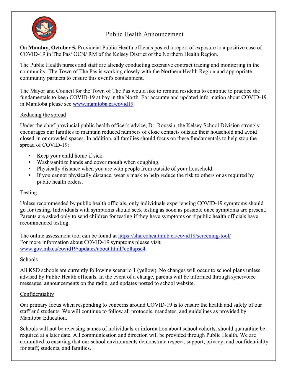 Public Health Announcement - KSD Website