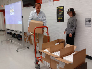 Reborn receives 182 used Apple laptop computers from Point Pleasant Beach high school.
