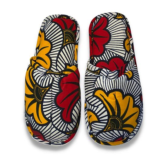 Pantuflas tela wax africana
