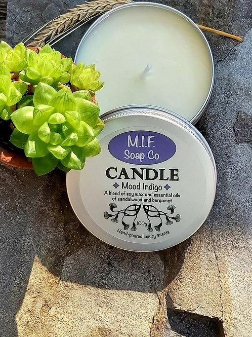 Mood Indigo Candle (Sandalwood & Bergamot)