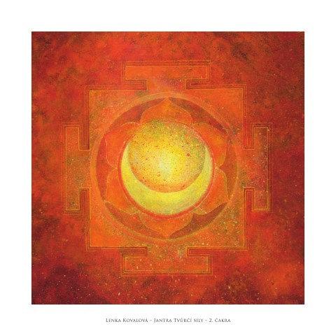 JANTRA TVŮRČÍ SÍLY- 2. čakra, reprodukce, 32x32 cm