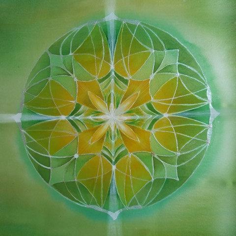 JARNÍ KVĚT, mandala na hedvábí, 20x20 cm
