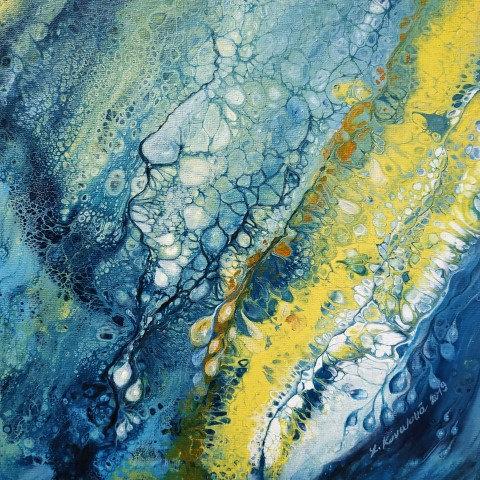 VODA NAD ZLATO, litý a malovaný akryl, plátno, 2019, 25x25 cm
