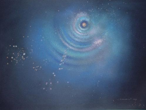 POHLEDY DO JINÉ DIMENZE ČASU II, suchý pastel, 2014, 100x70 cm