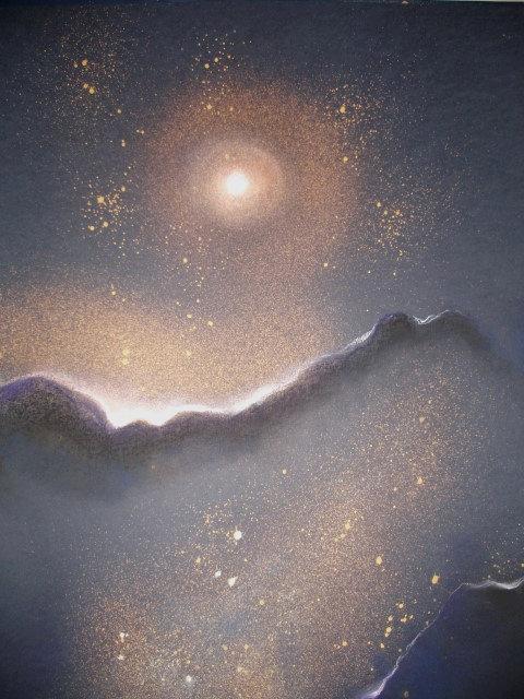 Z cyklu Tajuplný Vesmír, VZDÁLENÁ GALAXIE, suchý pastel, 2007, 70x100 cm
