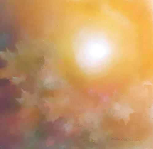 PODZIMNÍ SLUNCE I, akryl na plátně, 2020, 50x50 cm