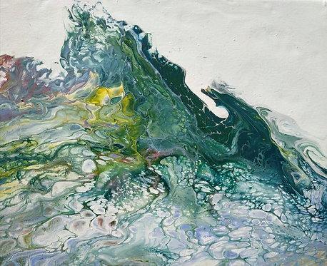 MOŘSKÁ VLNA II, litý akryl, plátno, 2019, 30x24 cm