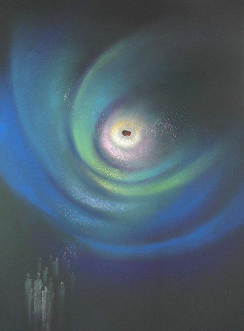 ROZMLOUVÁNÍ S NEBESY, suchý pastel, 2014, 70x100 cm