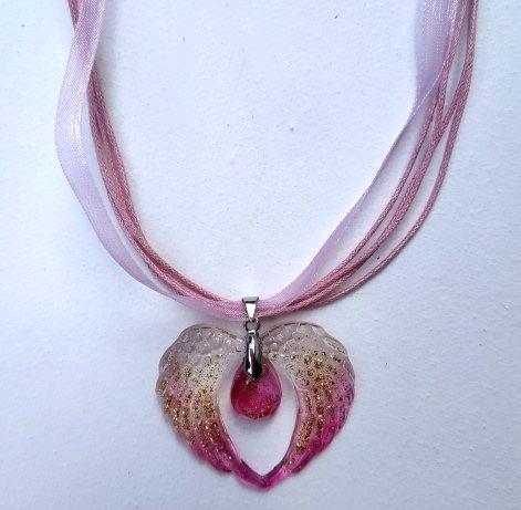 Srdce (růžové), křišťálová pryskyřice