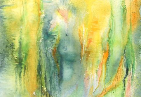 KAPKA NADĚJE, malba na hedvábí, 70x50 cm