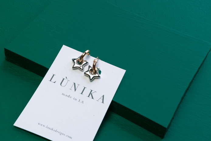 Lunika Star Earrings | Real Friends Jewelry | Product Photography + Styling | Chromatone Studios