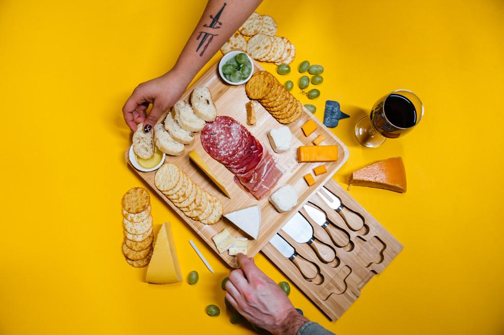 Charcuterie Board on Yellow | Product Photography + Styling | Chromatone Studios