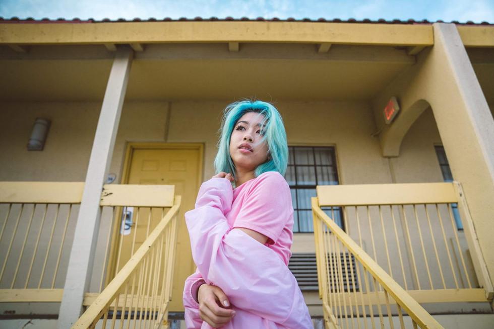 Model With Blue Hair at Motel | Portrait/Fashion Photography | Chromatone Studios