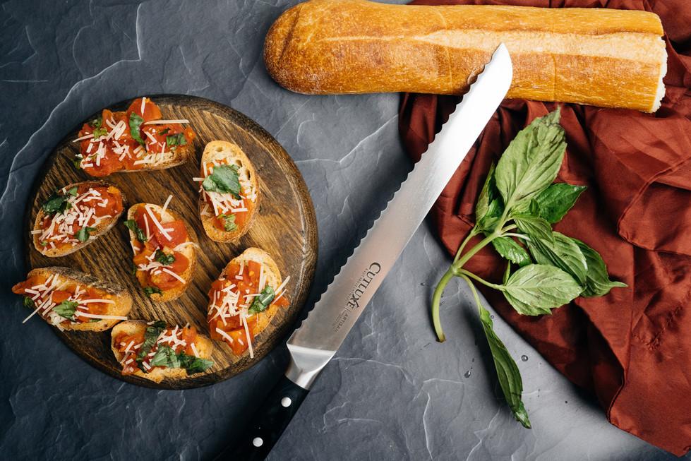 Bruschetta + Bread Knife | Cutluxe Knives | Product Photography + Styling | Chromatone Studios