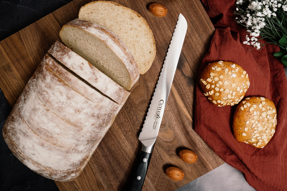 Bread Knife on Cutting Board | Cutluxe Knives | Product Photography + Styling | Chromatone Studios