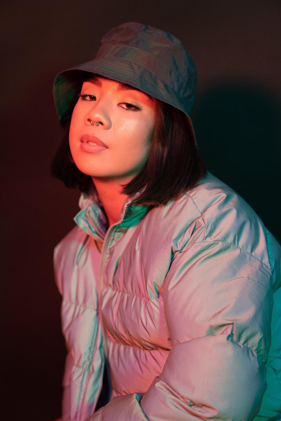 Girl With Bucket Hat + Red Light | Portrait/Fashion Photography | Chromatone Studios