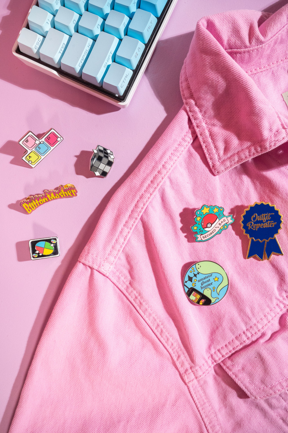 Pink Jean Jacket With Pins | Lasagnart | Product Photography + Styling | Chromatone Studios