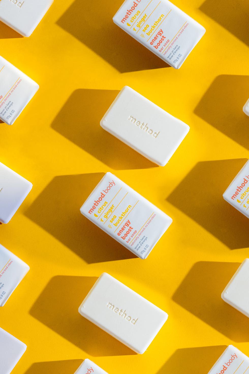 Repetitive Bar Soap on Yellow | Method Body | Product Photography + Styling | Chromatone Studios