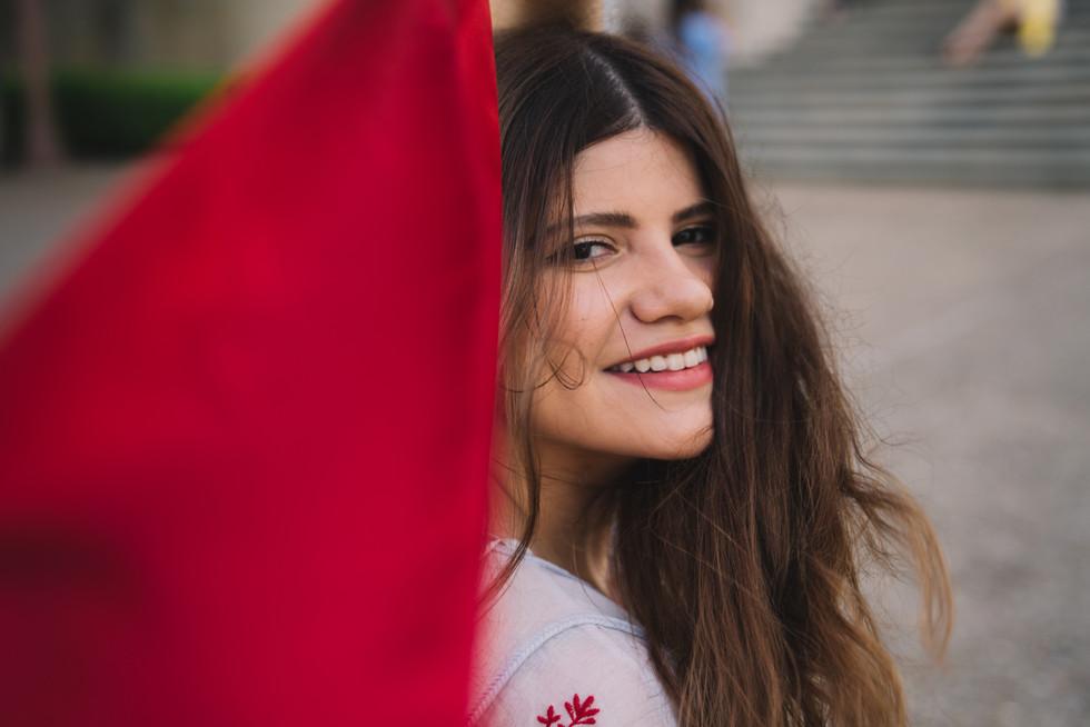 Woman With Red Flag | Portrait/Fashion Photography | Chromatone Studios