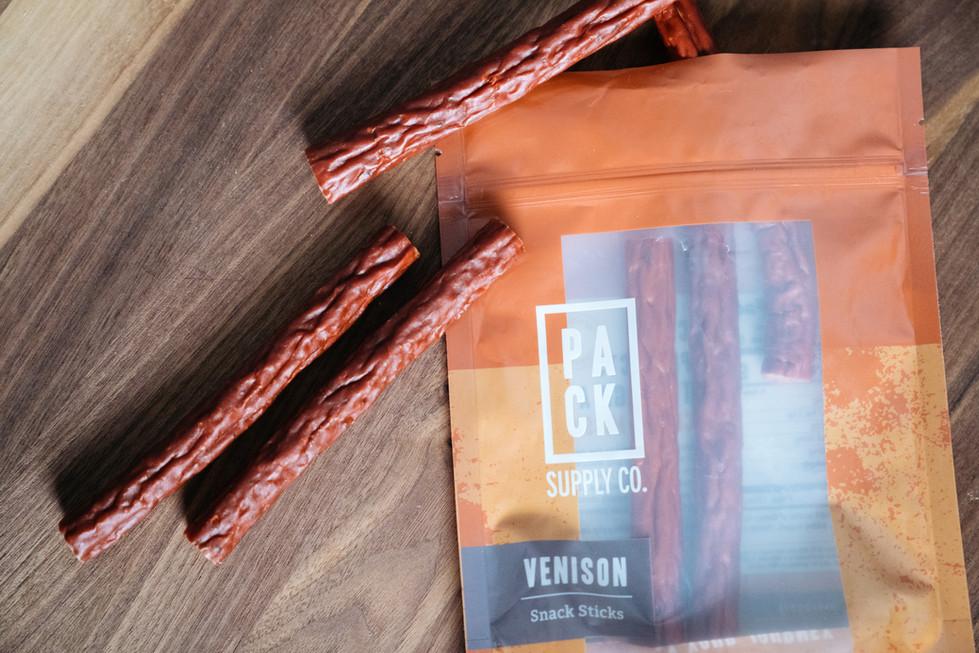 Venison Sticks on Wood | Pack Supply Co. | Product Photography + Styling | Chromatone Studios