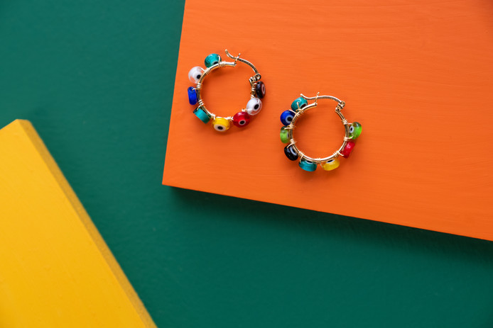 Colorful Rainbow Earrings | Real Friends Jewelry | Product Photography + Styling | Chromatone Studios