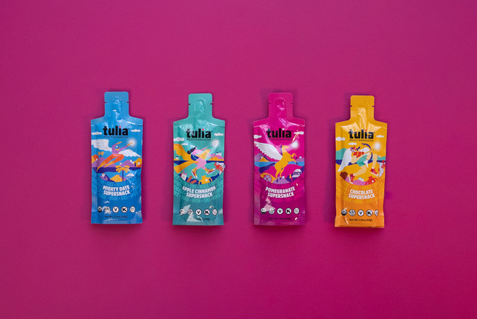 Colorful Healthy Snack Pouches | Tulia | Product Photography + Styling | Chromatone Studios