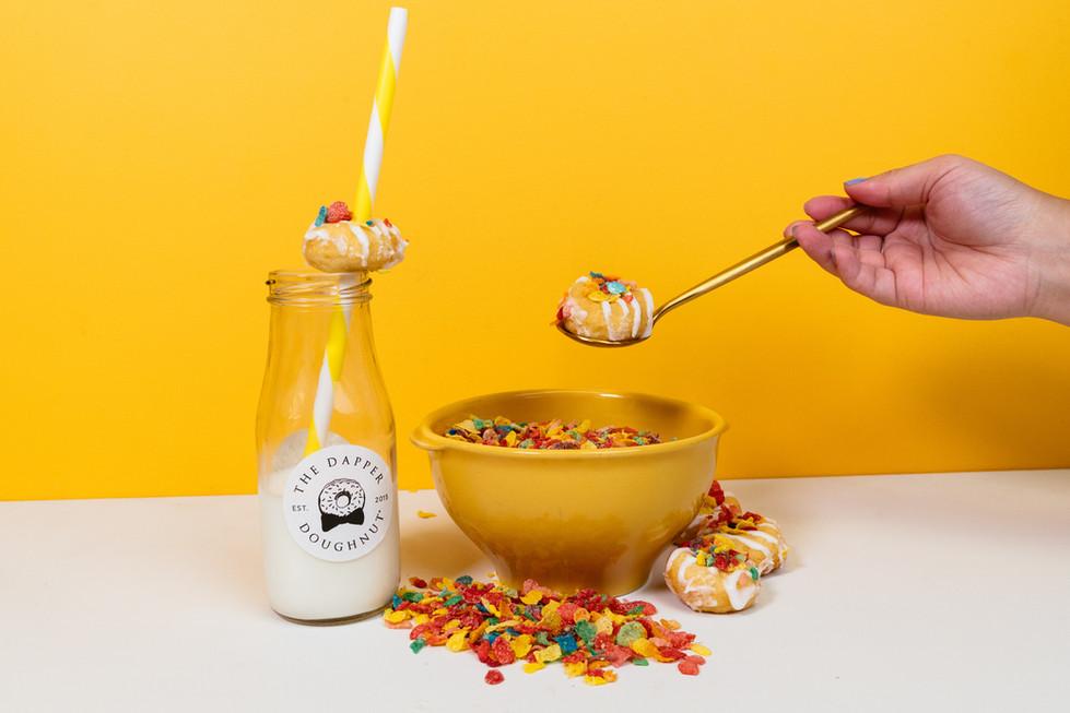 Fruity Pebbles Doughnut | The Dapper Doughnut | Product Photography + Styling | Chromatone Studios