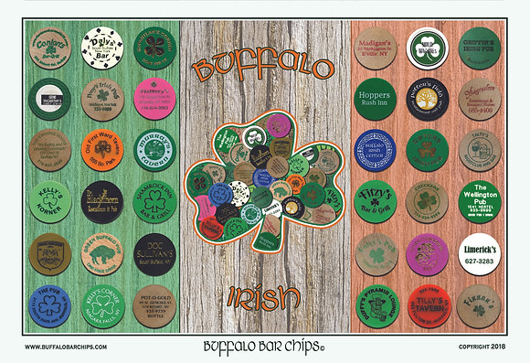 "Plaque mounted and laminated* 19"" x 13"" ""Buffalo Irish"" Shamrock Poster-36 Bars"