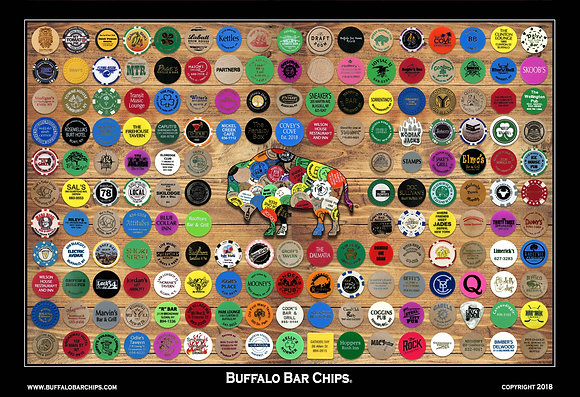 """Plaque mounted and laminated* 19"""" x 13"""" Buffalo Bar Chips Poster-172 Bars"""
