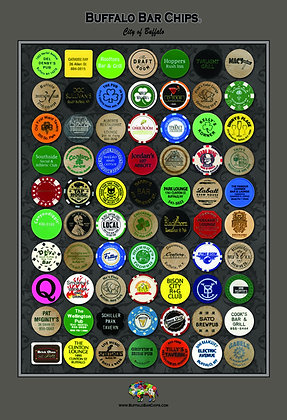 "Plaque mounted and laminated* 13"" x 19"" ""City of Buffalo"" Bar Chips Poster - 70"