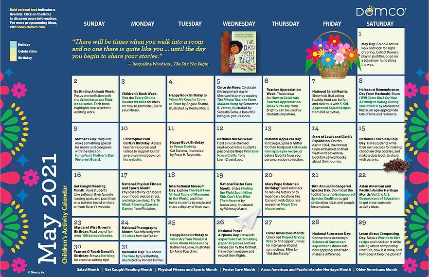 Demco Children's Activity Calendar May 2