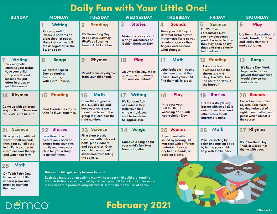 Demco Early Literacy Activity Calendar F