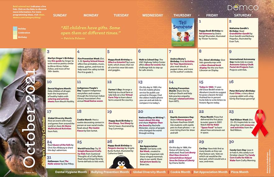 Demco Children's Activity Calendar October 2021.png